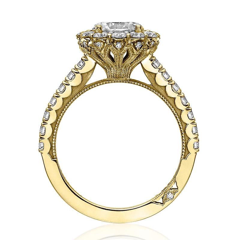 Tacori 37-2RD5 Diamond Half Way Yellow Gold Engagement Full Bloom Setting Edge View