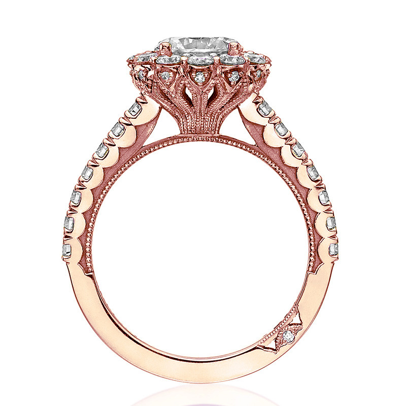 Tacori 37-2RD5 Diamond Half Way Rose Gold Engagement Full Bloom Setting Edge View