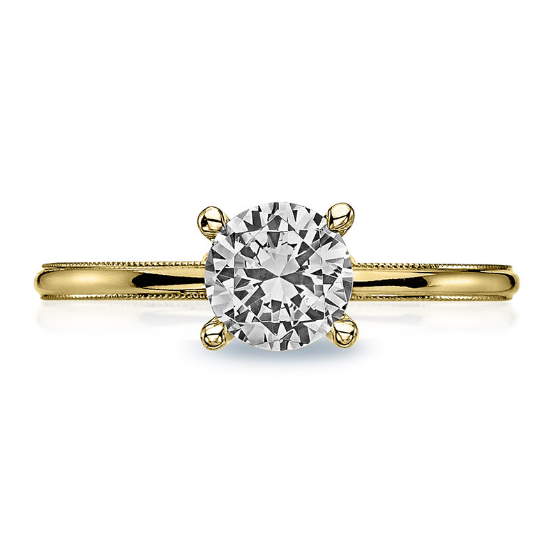 Tacori 40-15RD6 Milgrain Solitaire Yellow Gold Engagement Sculpted Crescent Setting Top View