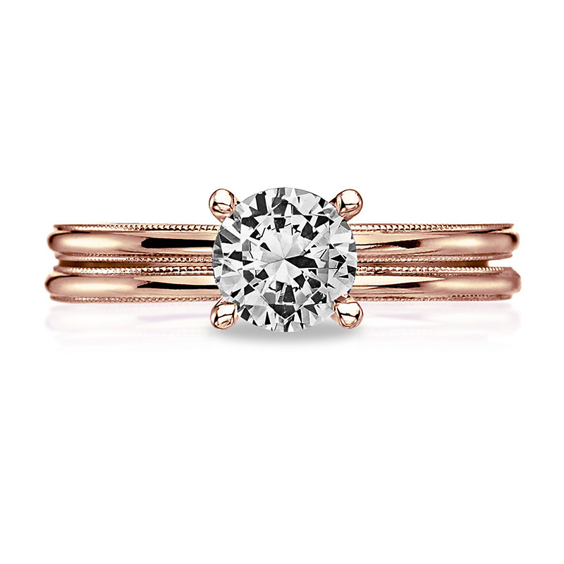 Tacori 40-15RD6.5 Milgrain Solitaire Rose Gold Engagement Sculpted Crescent Setting with Band