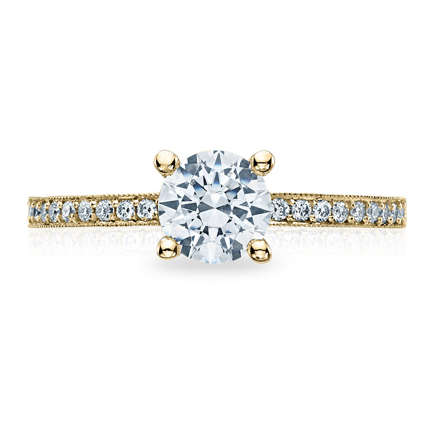 Tacori 41-15RD5.5 Yellow Gold Milgrain Half Way Engagement Sculpted Crescent Setting Top View