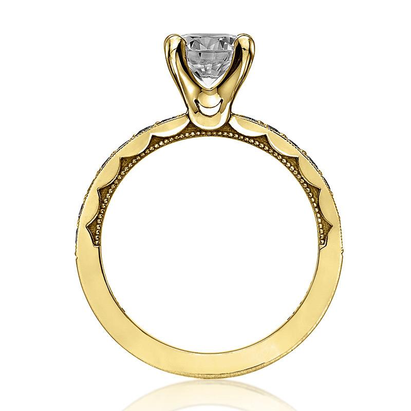 Tacori 41-25RD6.5 Milgrain Half Way Yellow Gold Engagement Sculpted Crescent Setting Edge View