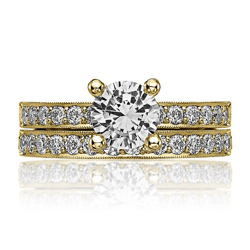 Tacori 41-25RD6.5 Milgrain Half Way Yellow Gold Engagement Sculpted Crescent Setting with Band