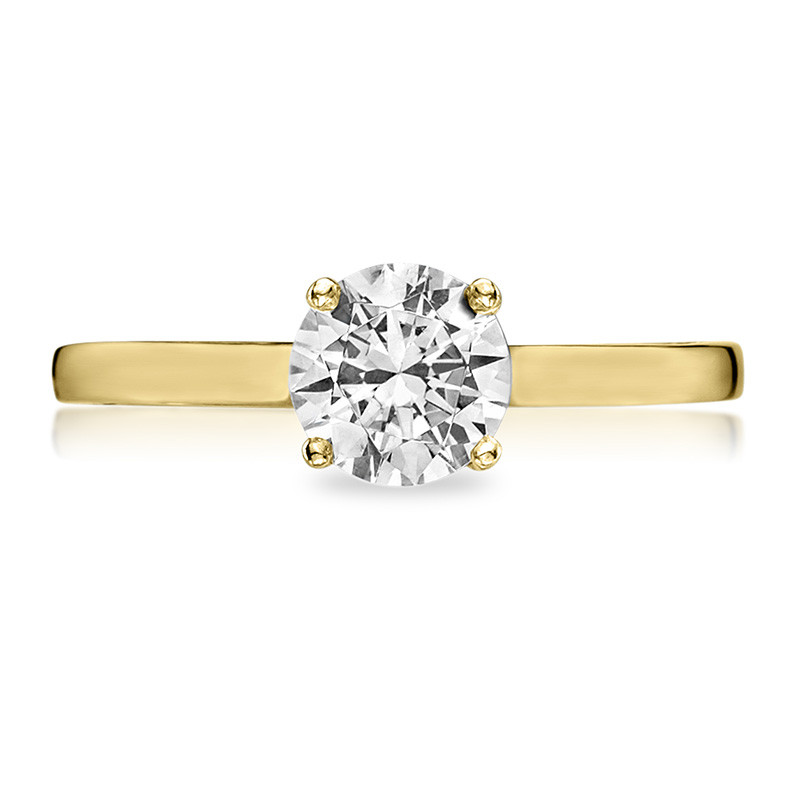 Tacori 48RD5 Solitaire Yellow Gold Engagement Ring Sculpted Crescent Setting Top View