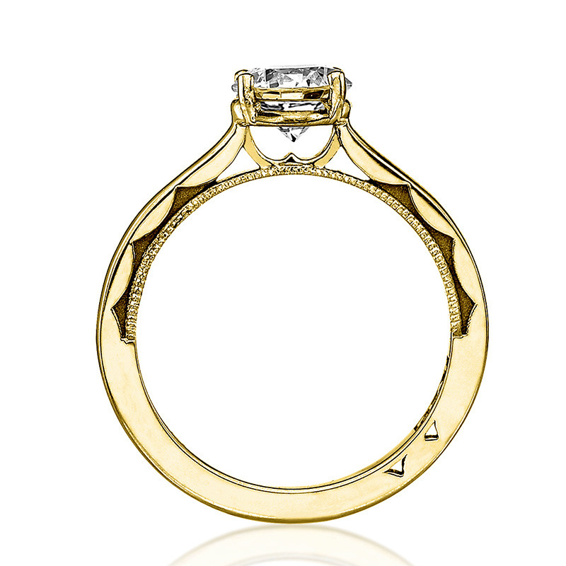 Tacori 48RD5 Solitaire Yellow Gold Engagement Ring Sculpted Crescent Setting Edge View