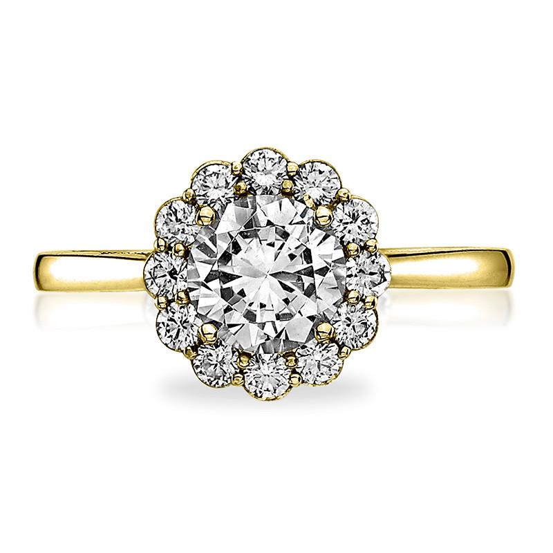 Tacori 55-2RD5 Yellow Gold Diamond Halo Engagement Full Bloom Setting Top View
