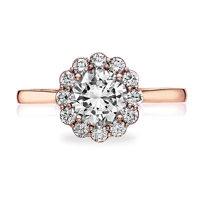 Tacori 55-2RD5 Rose Gold Diamond Halo Engagement Full Bloom Setting Top View