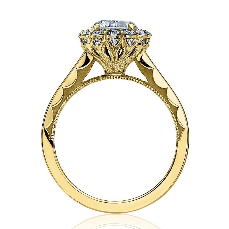 Tacori 55-2RD5 Yellow Gold Diamond Halo Engagement Full Bloom Setting Edge View