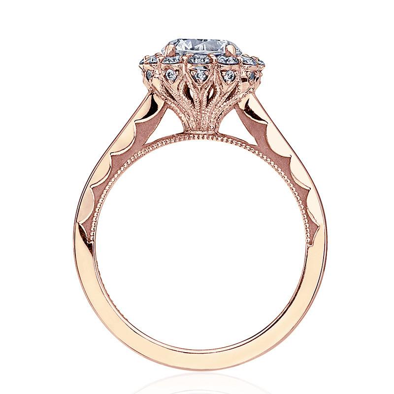 Tacori 55-2RD5 Rose Gold Diamond Halo Engagement Full Bloom Setting Edge View