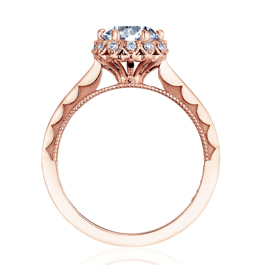 Tacori 59-2RD55-PK Sculpted Crescent Floral Rose Gold Engagement Ring Setting Side View