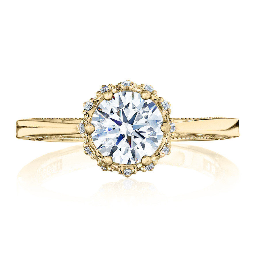 Tacori 59-2RD65-Y Yellow Gold Floral Engagement Ring Sculpted Crescent Setting Top View