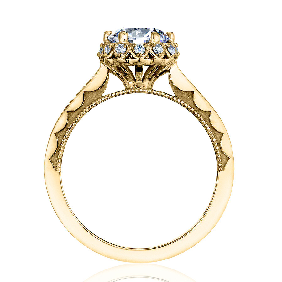Tacori 59-2RD5-Y Yellow Gold Floral Engagement Ring Sculpted Crescent Setting Edge View