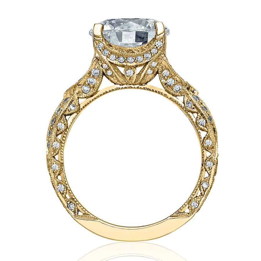 Tacori HT2606RD8 Diamond Ribbon Yellow Gold Engagement RoyalT Setting Edge View