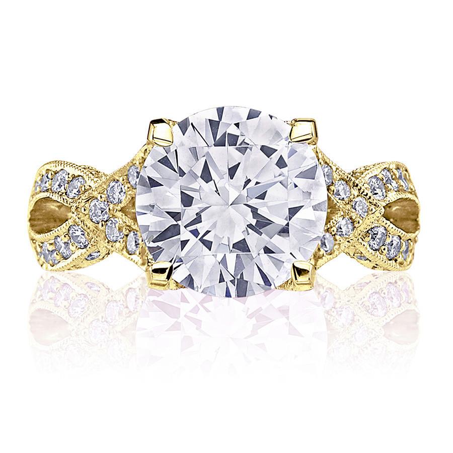 Tacori HT2606RD95 Diamond Ribbon Yellow Gold Engagement RoyalT Setting Top View