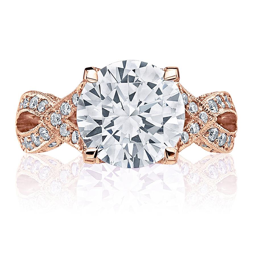 Tacori HT2606RD8 Diamond Ribbon Rose Gold Engagement RoyalT Setting Top View