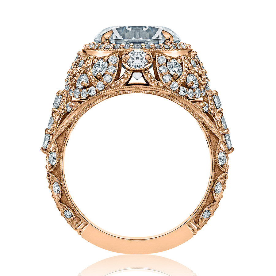 Tacori HT2612RD95 Sculpted Bloom Rose Gold Engagement RoyalT Setting Edge View