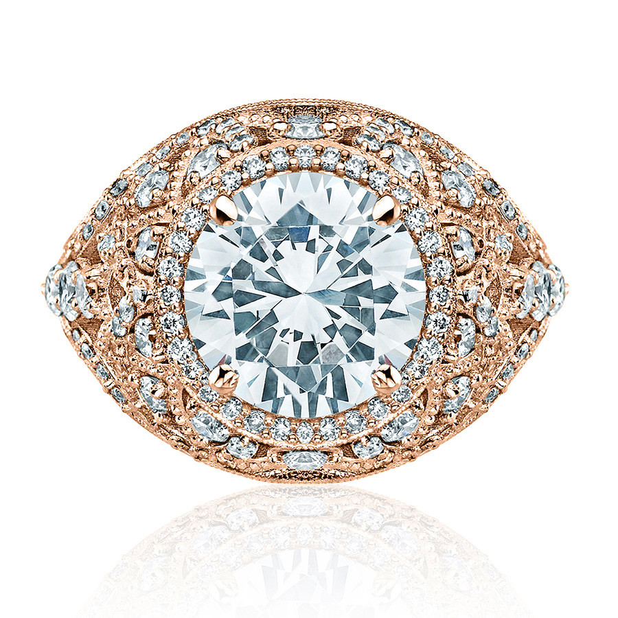 Tacori HT2612RD95 Sculpted Bloom Rose Gold Engagement RoyalT Setting Top View