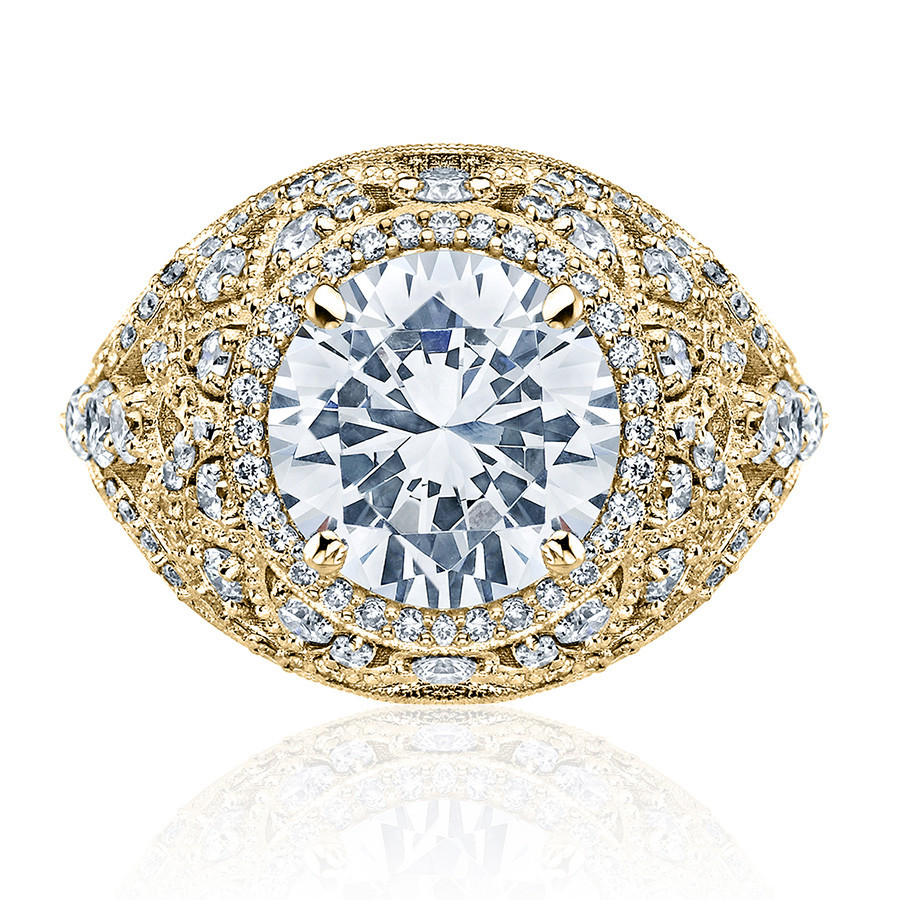 Tacori HT2612RD9 Sculpted Bloom Yellow Gold Engagement RoyalT Setting Top View