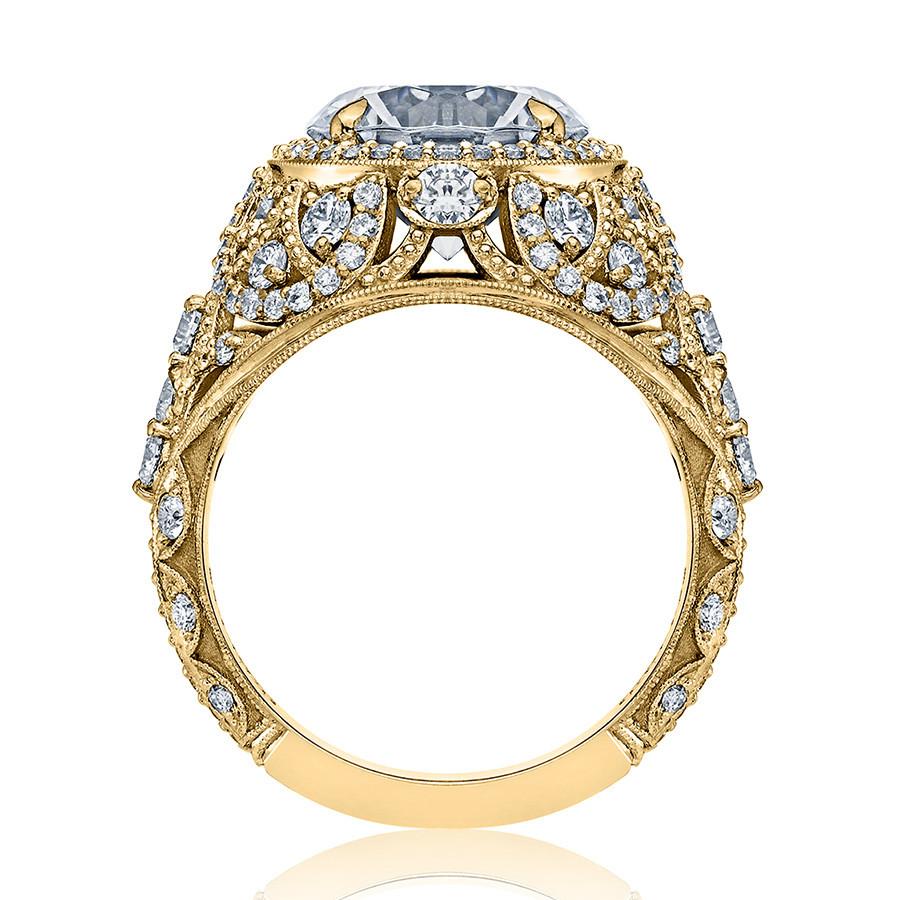 Tacori HT2612RD85 Sculpted Bloom Yellow Gold Engagement RoyalT Setting Edge View