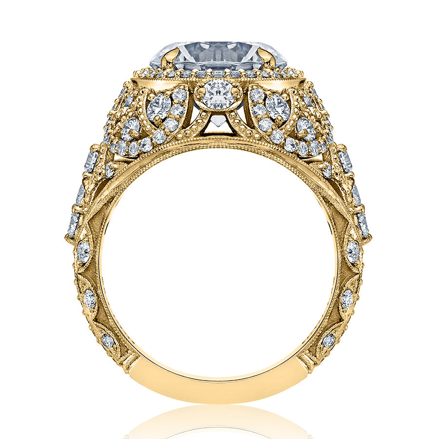 Tacori HT2612RD9 Sculpted Bloom Yellow Gold Engagement RoyalT Setting Edge View