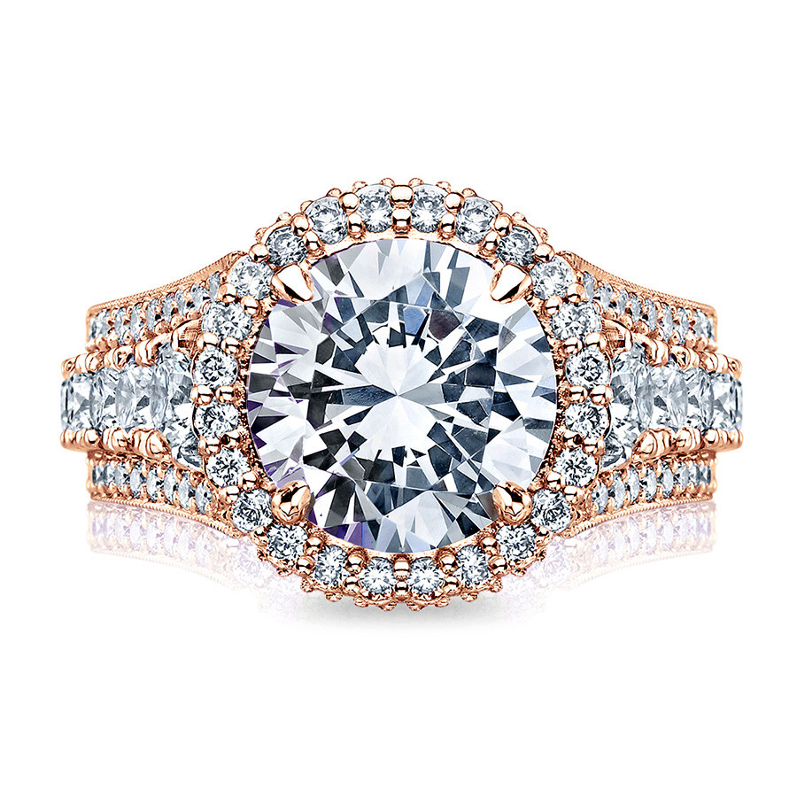 Tacori HT2612RD95 Rose Gold Sculpted Bloom Engagement RoyalT Setting Top View