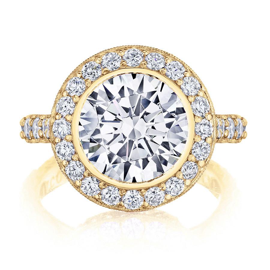 Tacori HT2614RD9 Yellow Gold Diamond Bloom Engagement RoyalT Setting Top View