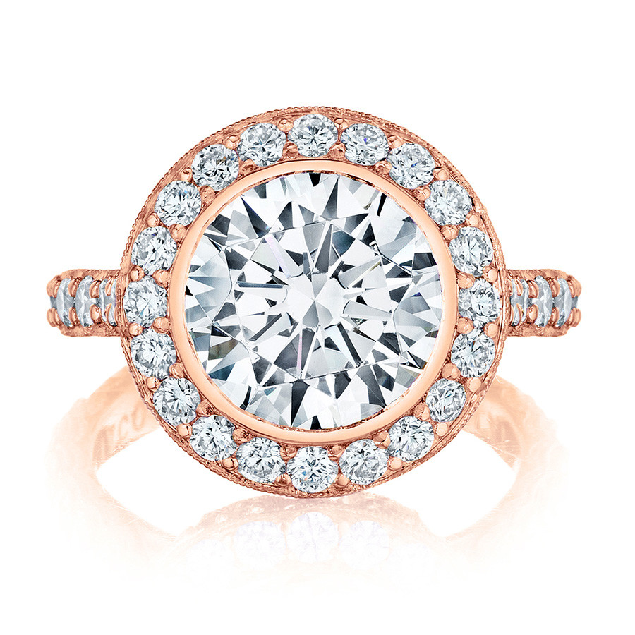 Tacori HT2614RD10 Rose Gold Diamond Bloom Engagement RoyalT Setting Top View