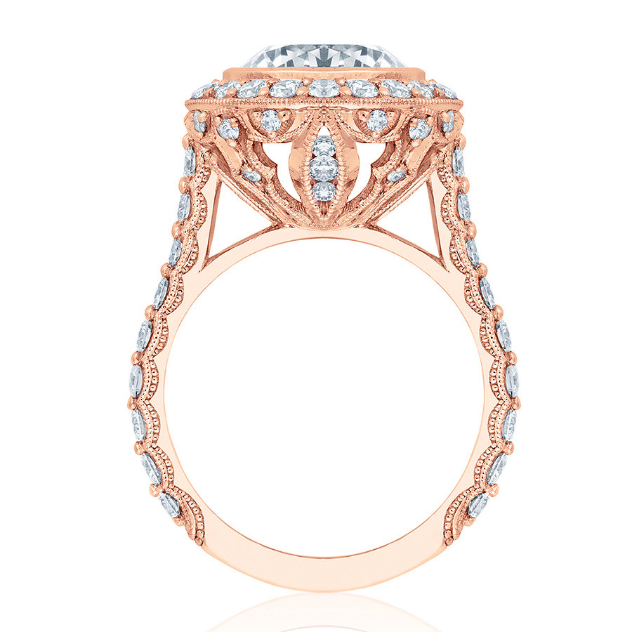 Tacori HT2614RD9 Rose Gold Diamond Bloom Engagement RoyalT Setting Edge View
