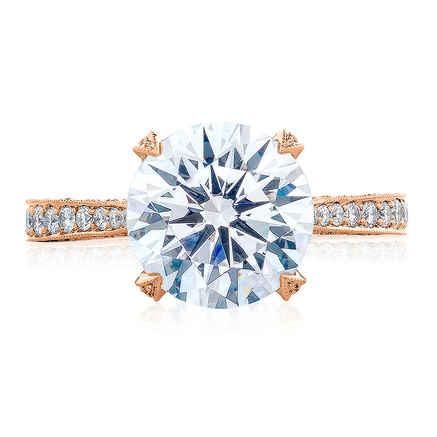 Tacori HT2626RD9 Pave Diamond Rose Gold Engagement RoyalT Setting Top View
