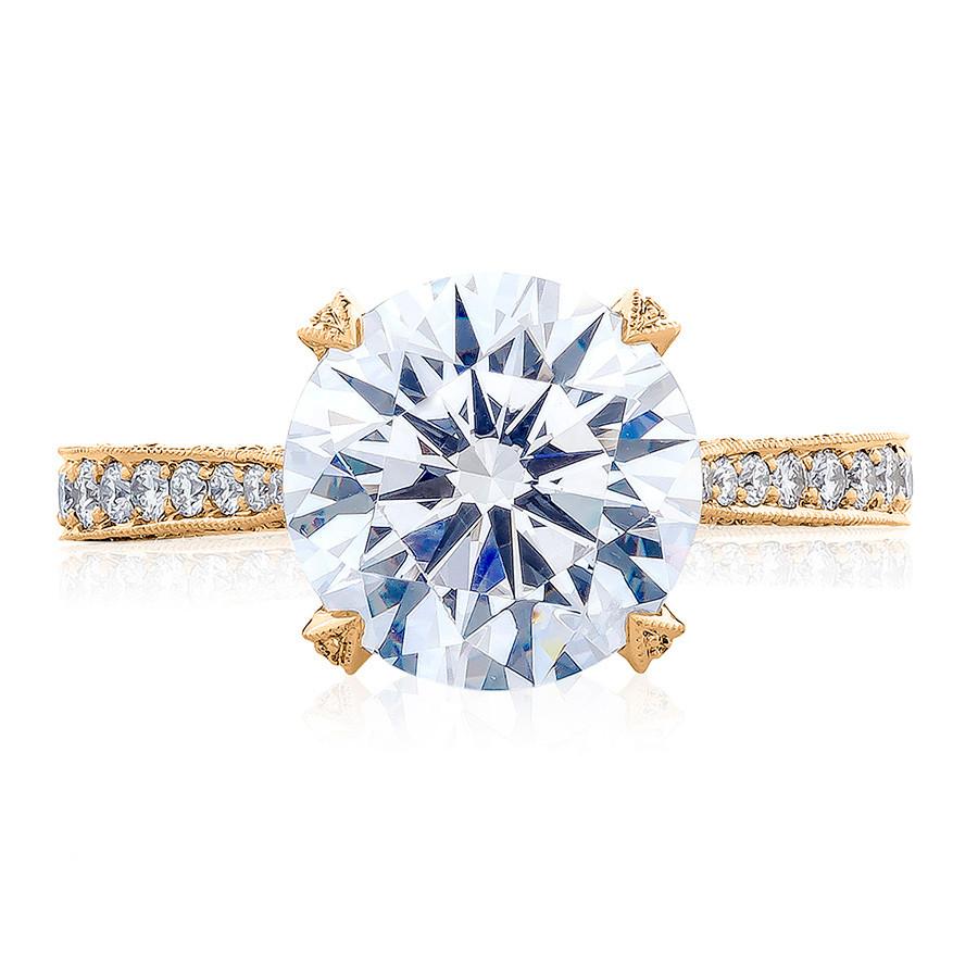 Tacori HT2626RD95 Pave Diamond Yellow Gold Engagement RoyalT Setting Top View