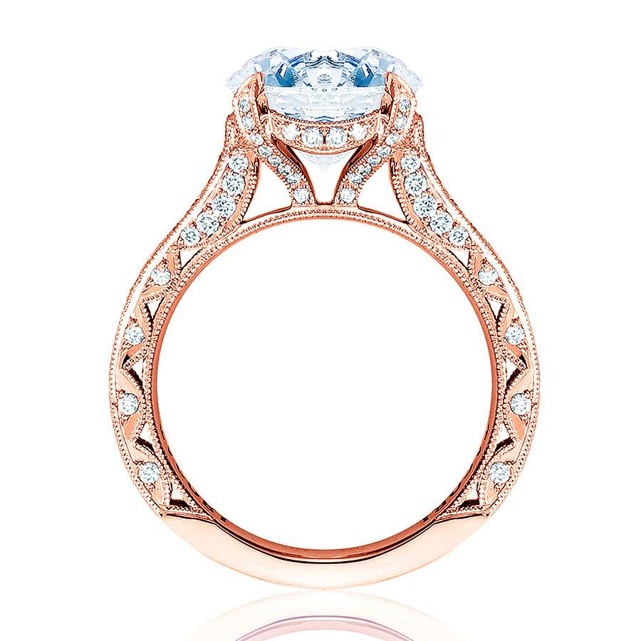 Tacori HT2626RD8 Pave Diamond Rose Gold Engagement RoyalT Setting Edge View