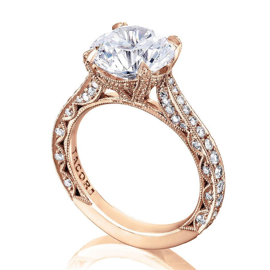 Tacori HT2626RD8 Pave Diamond Rose Gold Engagement RoyalT Setting Angle View