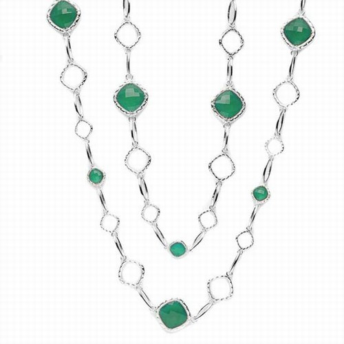 Tacori 18K925 Green Onyx Chain Necklace in Silver & Yellow Gold 40""