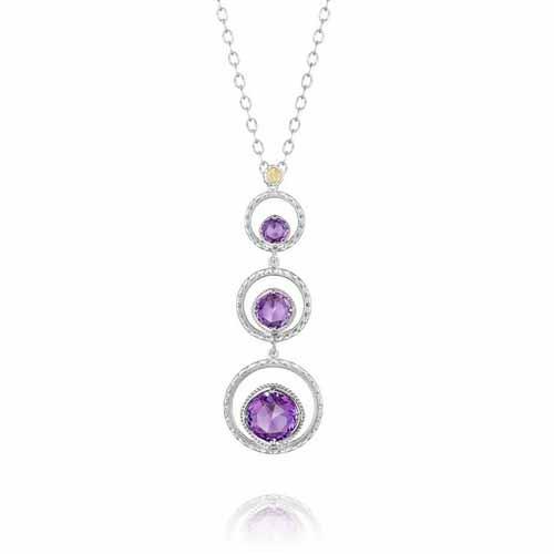 Tacori 18K925 Lilac Blossoms 3 Stone Purple Amethyst Circle Pendant