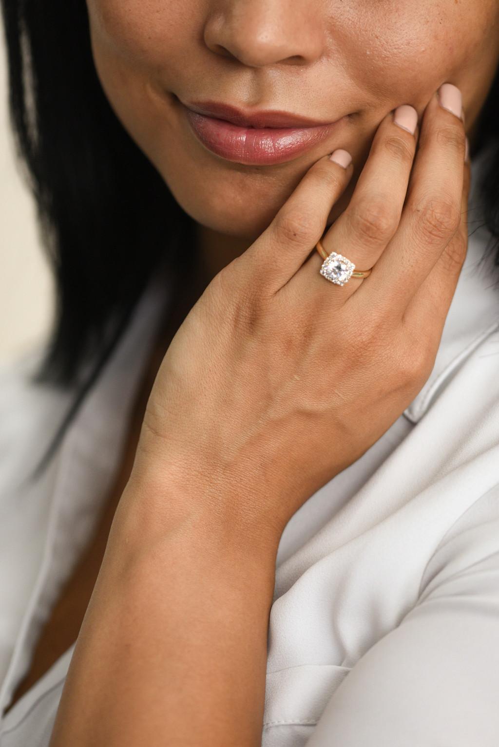 Vintage Diamond Cushion Halo Engagement Ring on model