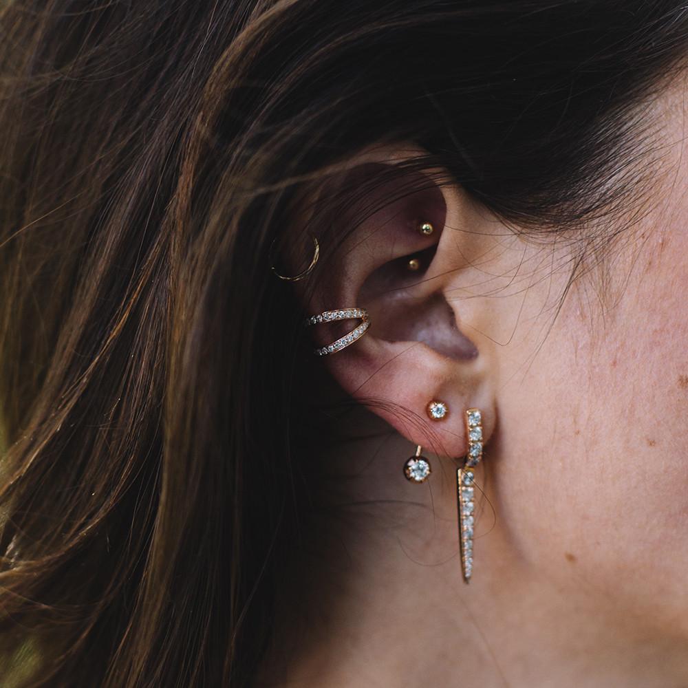 Carbon & Hyde 14kt Rose Gold Thorn Earrings on model