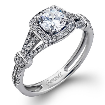 Simon G Delicate Pave Halo Split Shank Engagement Ring