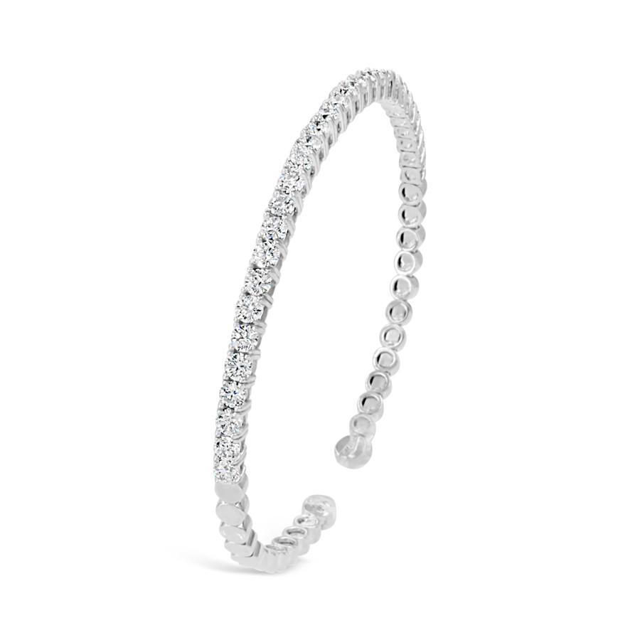 White Gold 3.00ctw Diamond Flex Cuff Bracelet side