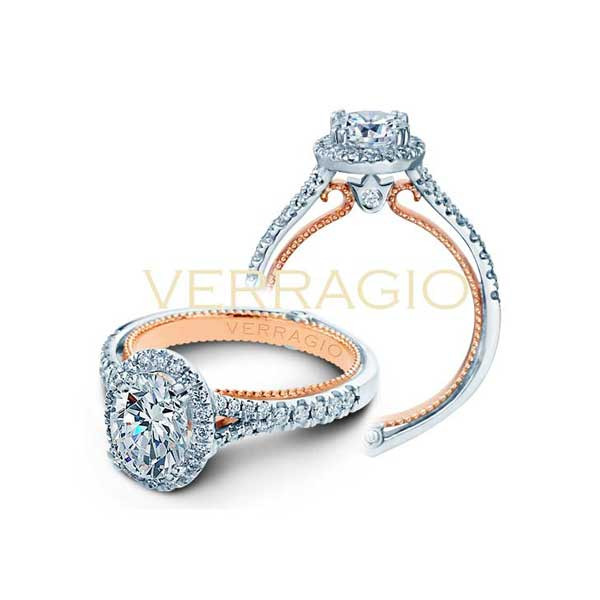 Verragio Couture Oval Halo with Rose Gold Profile Engagement Setting