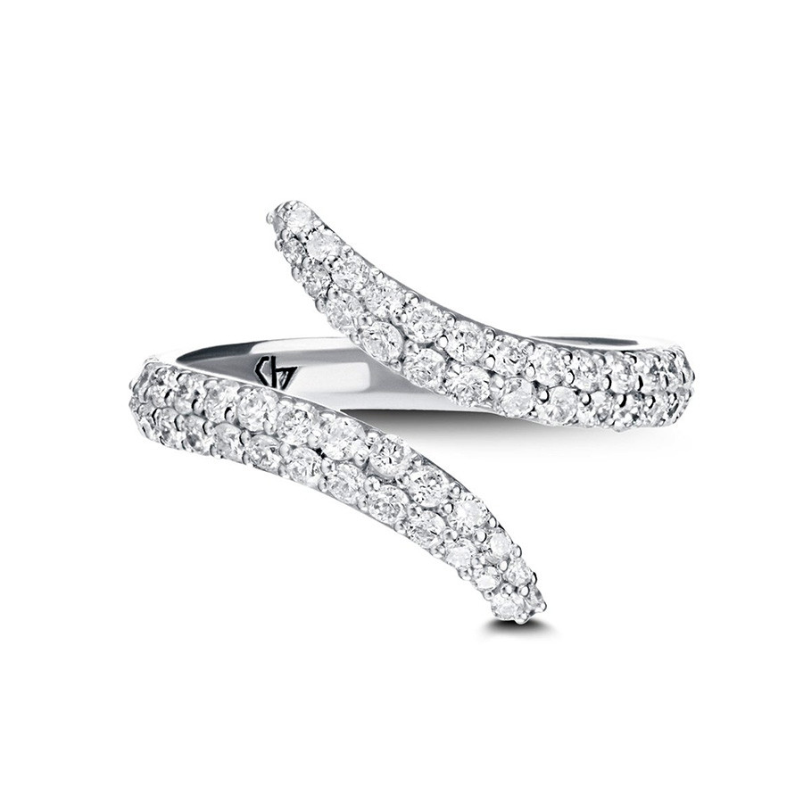Carbon & Hyde White Gold Pave Diamond Viper Bypass Ring