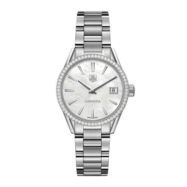 Tag Heuer Carrera White Mother of Pearl Diamond Bezel Watch