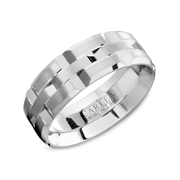 Crown Ring 7.5mm Classic White Gold Carlex Band