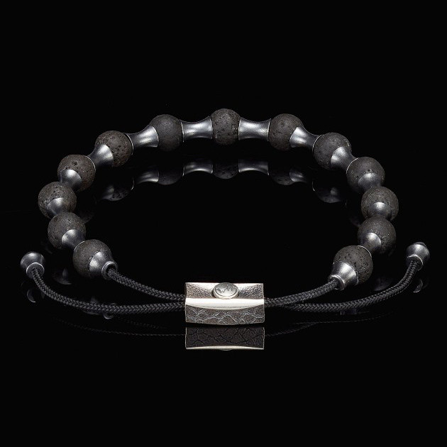 William Henry Adjustable Lava Summit Bead Bracelet Front View