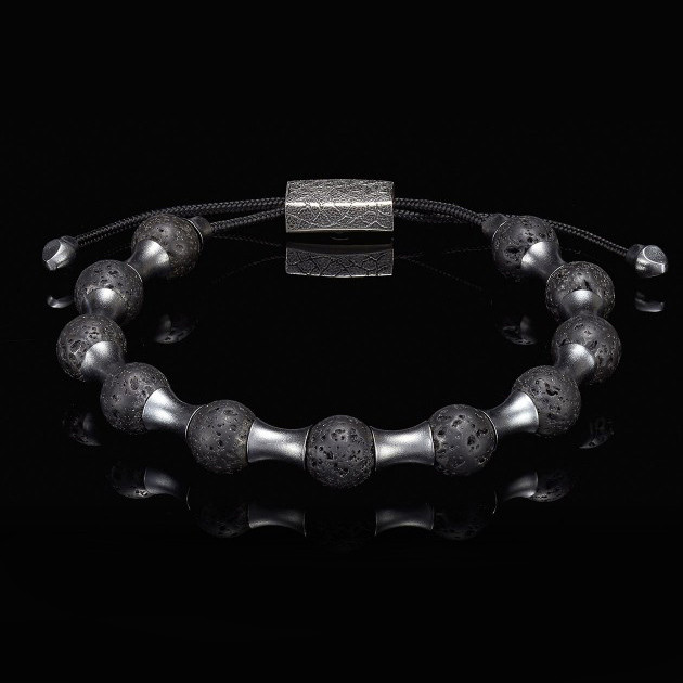 William Henry Adjustable Lava Zenith Bead Bracelet Back View