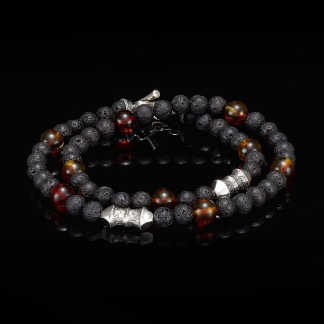 William Henry Lava Rock Amber Tether Wrap Bracelet