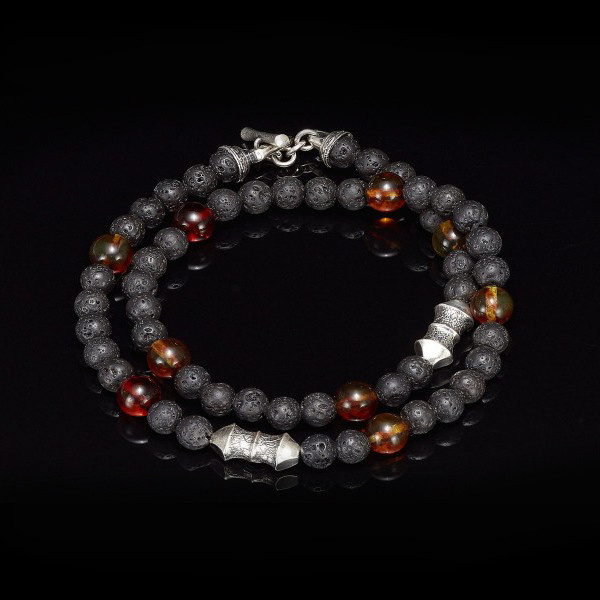 William Henry Lava Rock Amber Tether Wrap Bracelet Top View
