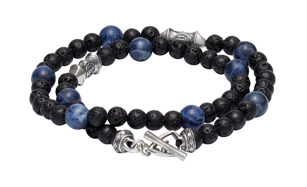 William Henry Lava Rock Sodalite Tether Wrap Bracelet