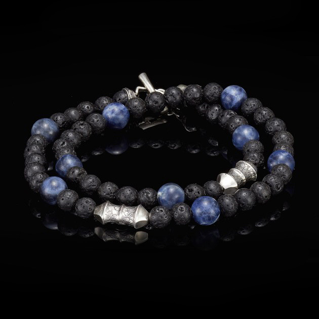William Henry Lava Rock Sodalite Tether Wrap Bracelet Back View