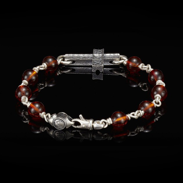 William Henry Silver Cross Amber Sanctum Bracelet Back View