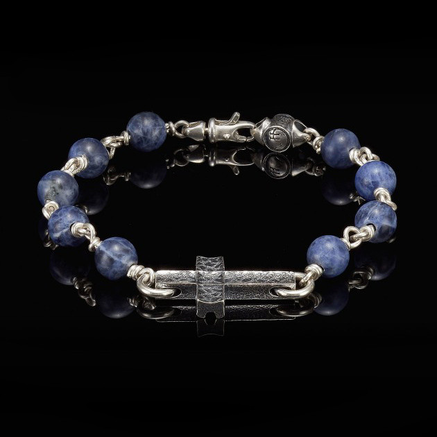William Henry Silver Cross Sodalite Sanctum Bracelet Front View